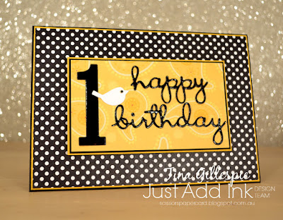 scissorspapercard, Stampin' Up!, Just Add Ink, Well Written, Itty Bitty Birthdays, Large Numbers Framelits