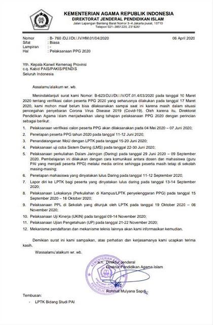 surat edaran pelaksanaan ppg 2020