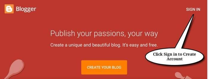 Create Blogger Account