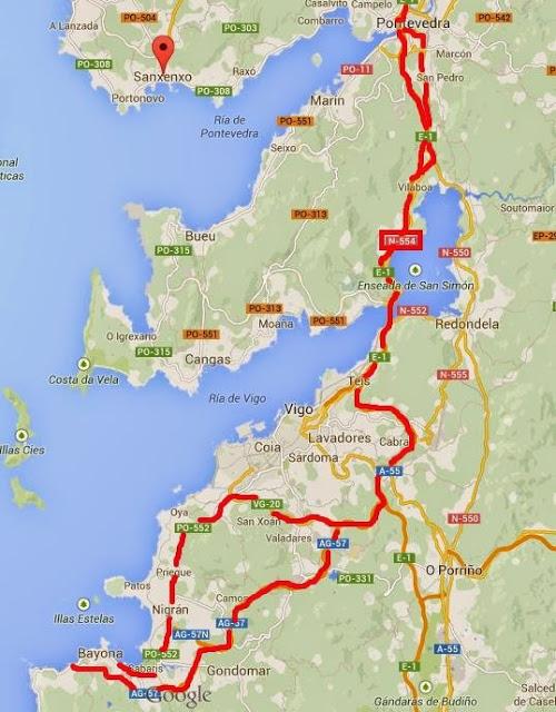 Ruta en coche desde Pontevedra a Bayona