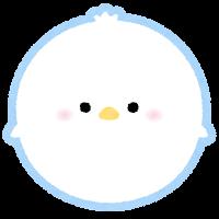 パステルカラーの鳥のイラスト(白)