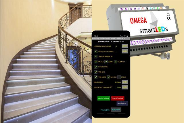 Konfiguracja sterownika schodowego LED smartLEDs Omega Exclusive przy pomocy smartfona