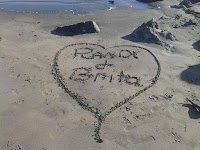 Randy & Brita Heart in the sand - Calif coast