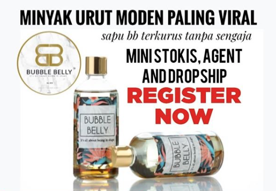 Bubble Belly, Minyak Urut Moden, Stokis, Ejen, Dropship, cari extra income, Extra Income, Beauty by Rawlins, Rawlins GLAM