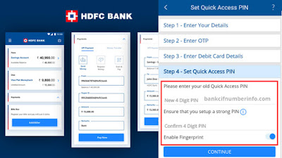 Set Quick Access Pin in HDFC mobile app