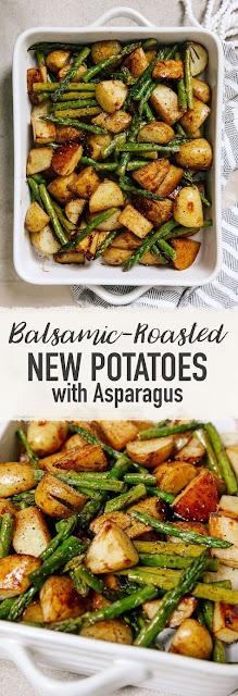 Balsamíc Roasted New Potatoes Wíth Asparagus