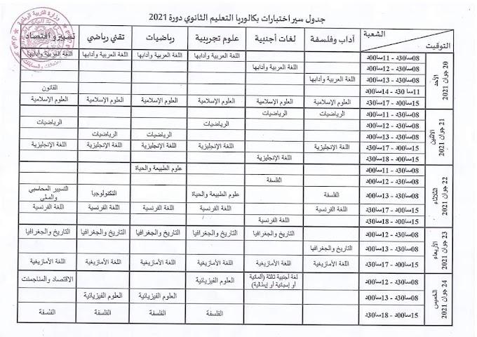جدول إختبارات الباكالوريا جوان 2021 لجميع الشعب