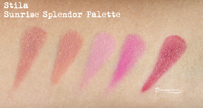 Stila Sunrise Splendor Convertible Color Dual Lip & Cheek Palette: swatches of English Rose, Lillium, Cherry Blossom, Fuchsia, Tulip
