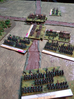 French infantry attack the British brigades