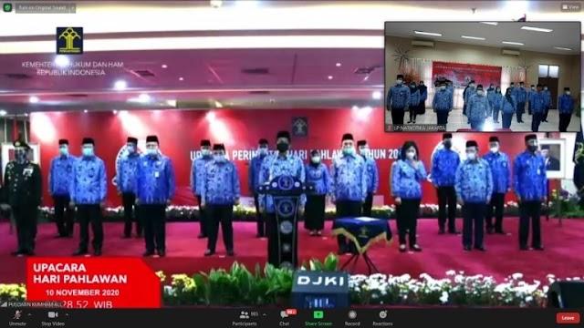 Petugas Lapas Narkotika Jakarta Ikuti Upacara Peringatan Hari Pahlawan,  Secara Virtual