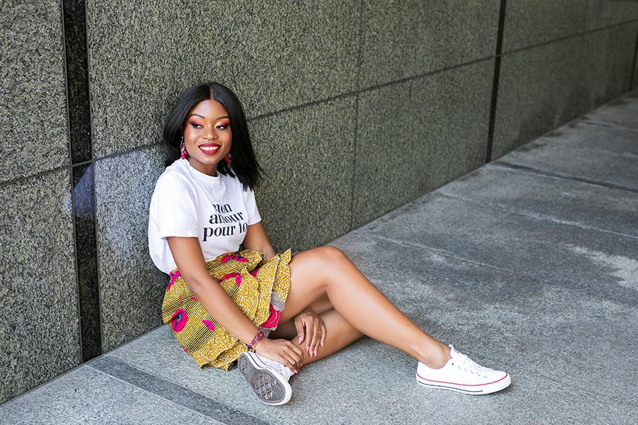 african print skirt, graphic tee, www.jadore-fashion.com
