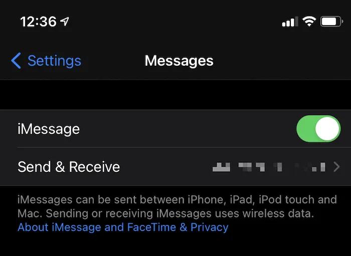 رابط الإرسال والاستلام في iOS.