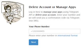 Hapus Akun Telegram Manual