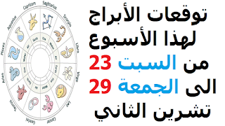 توقعات الأبراج لهذا الأسبوع من السبت 23 الى الجمعة 29 تشرين الثاني  2019
