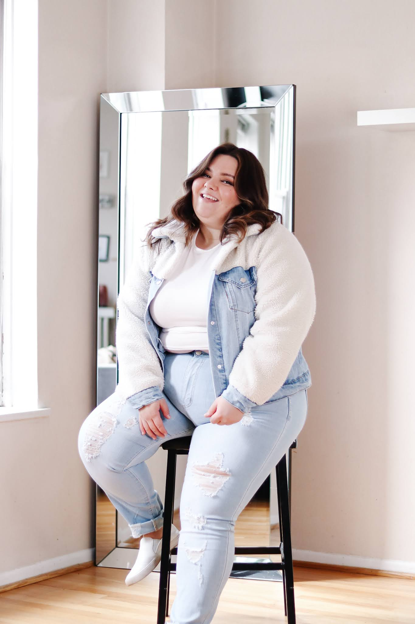 petite and plus size fashion blogger natalie in the city reviews Forever 21's plus size faux shearling jackets and teddy coats
