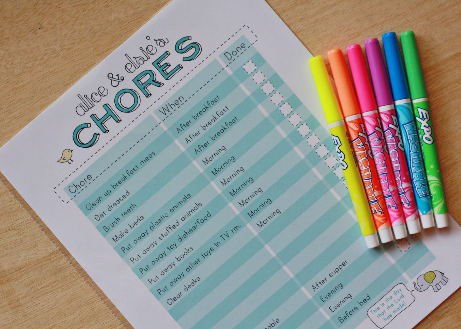 Amy J Delightful Blog Printable Chore Chart