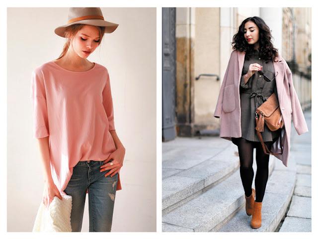 Шляпа цвета хаки с розовой футболкой, платье цвета хаки с розовым пальто