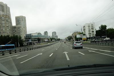 driving on Leningradskoye shosse in Moscow
