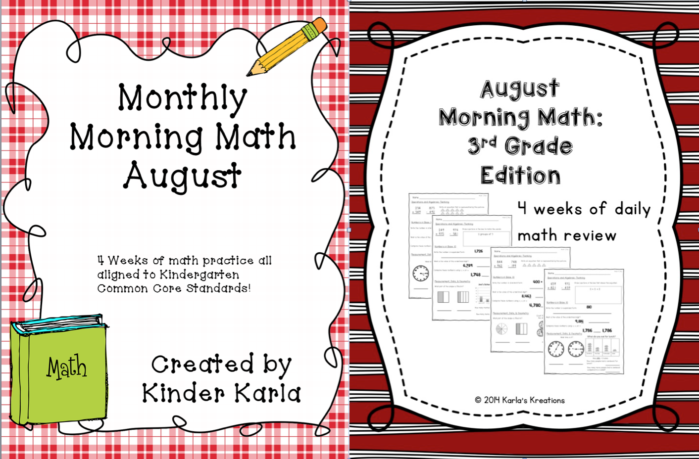 Karlas Kreations August Morning Math Kinder And 3rd Grade