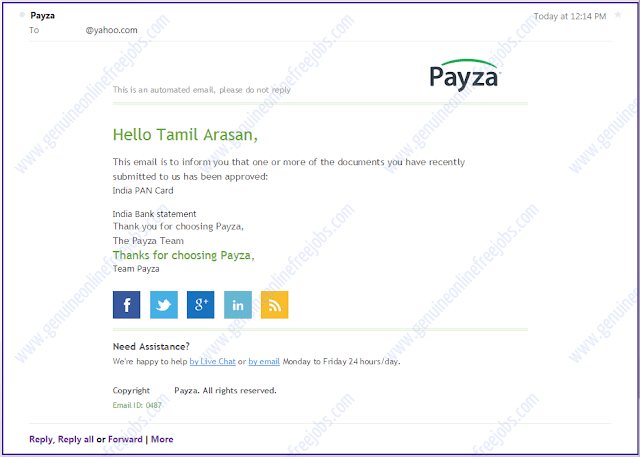 Payza account confirmed mail