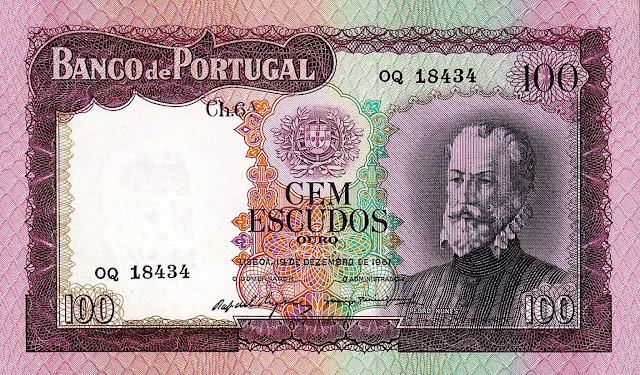 Portugal Banknotes 100 Escudos banknote 1961 Pedro Nunes