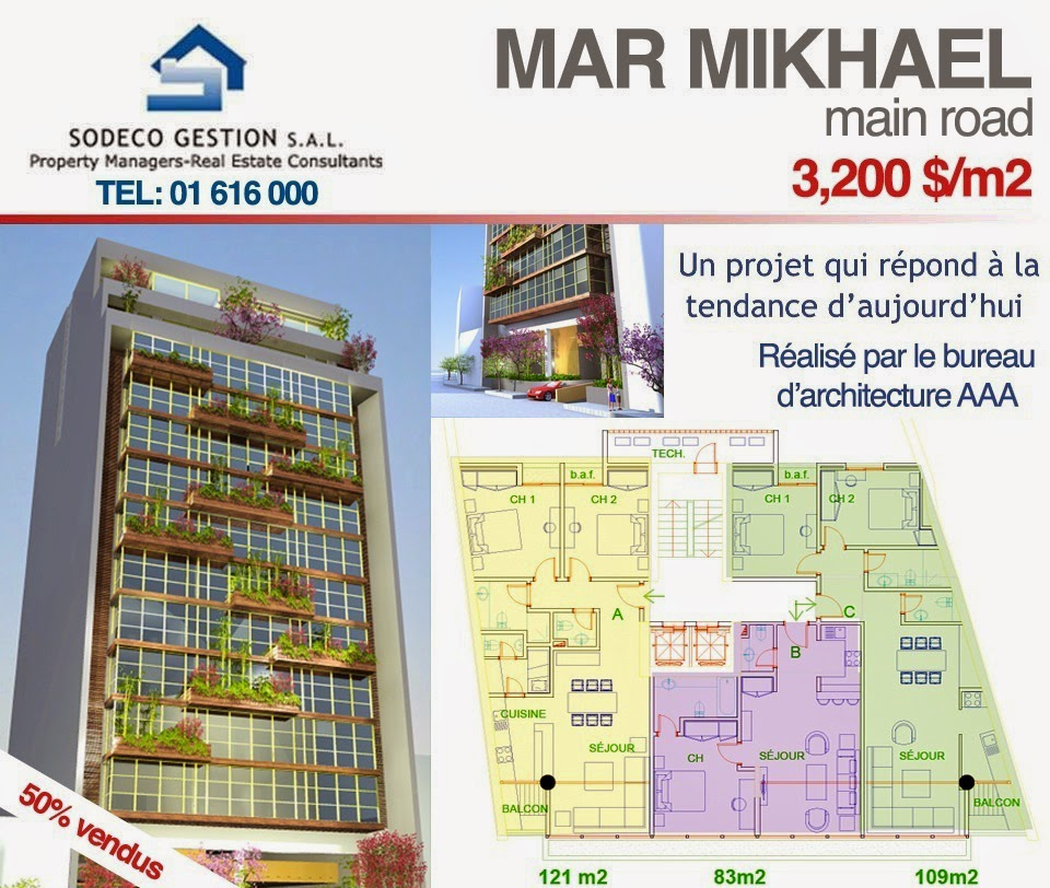 Real Estate Lebanon New Apartment For Sale In Mar Mikhael 83 Sqm 109 Sqm 121 Sqm 350 000 For More Info Contact Our Office Tel 01616000