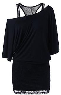 Racerback Skew Neck Lace Trim Dress Off Shoulder Black Mini Dress
