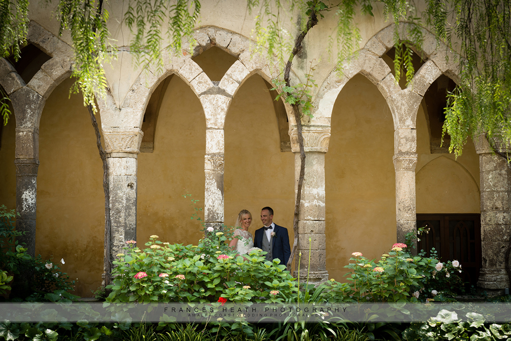 Bride and groom cloisters Sorrento