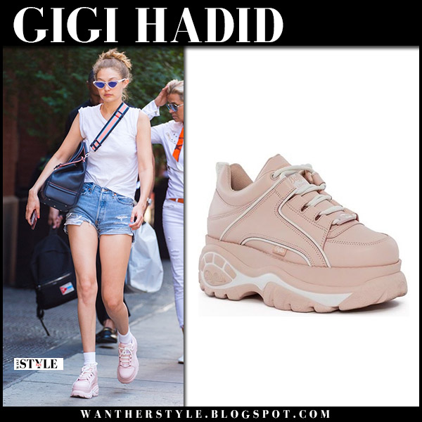 Gigi Hadid in pink platform sneakers buffalo london and denim shorts model summer style june 25