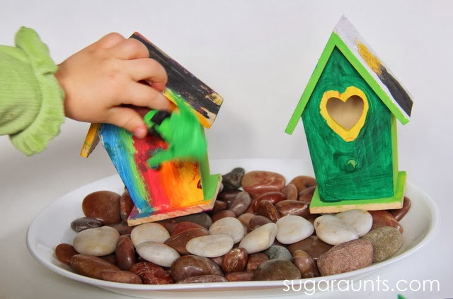 Use a small world for imagination and pretend play