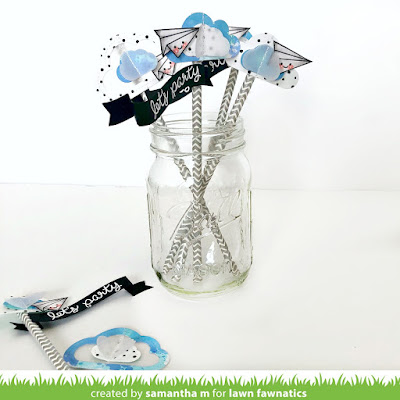 Let's Party Graduation Straws by Samantha Mann for Lawn Fawnatics Challenge, Lawn Fawn, Graduation, Party Favor, watercolor, #lawnfawn #partyfavor #distressink