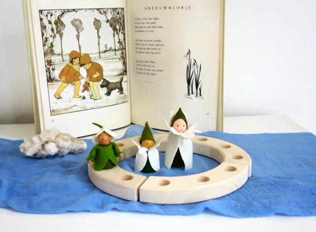 Snowdrop waldorf nature table winter Atelier de Vier Jaargetijden