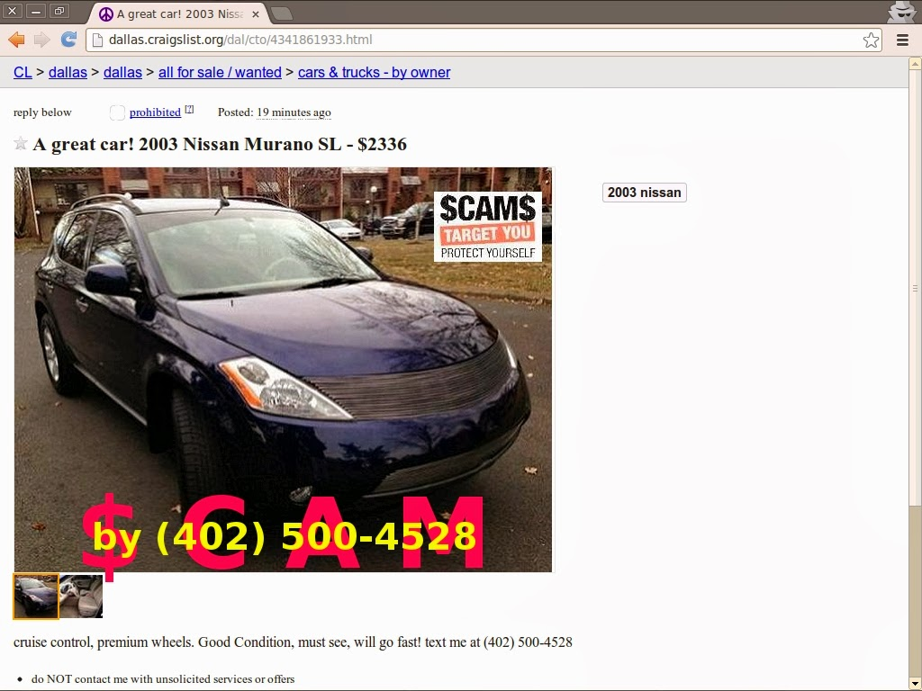 CRAIGSLIST SCAM ADS DETECTED ON 02/20/2014