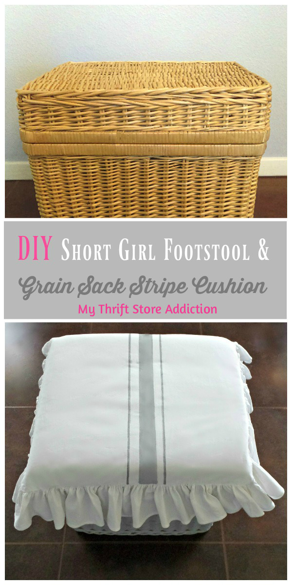 DIY Short Girl Footstool with Grain Sack Stripe Cushion