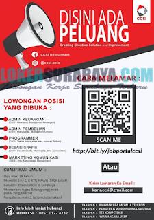 Loker Surabaya Terbaru di Creating Creative Solution and Improvement (CCSI) Mei 2019