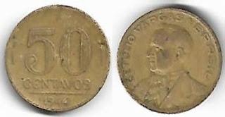 50 centavos, 1944  com siglas OM