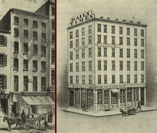 New-York Daily Times, first buildings