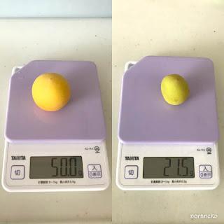 梅の実の重量を比較