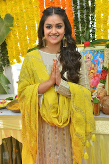 Keerthy Suresh in Yellow With Cute and Lovely Smile for New Movie Launch 3