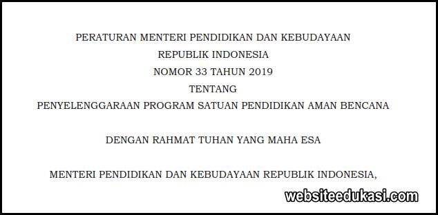 Permendikbud 33 Tahun 2019 Tentang Penyelenggaraan Program SPAB