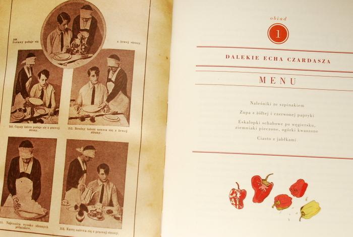 Pierwsze menu i ryciny ze starej książki kucharskiej