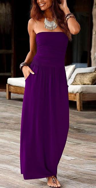 Purple Strapless Maxi Dresses