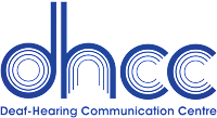 logo for Deaf-Hearing Communication Centre with lowercase dhcc letters that have circle outlines inside each letter