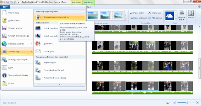 simpan file windods movie maker
