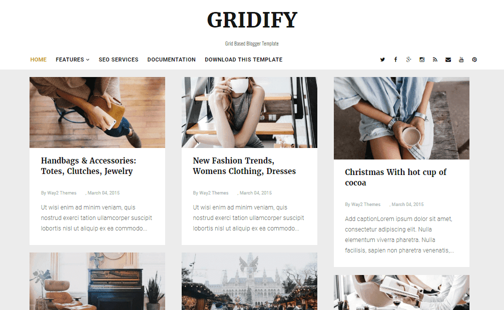 Gridify responsive blogger template