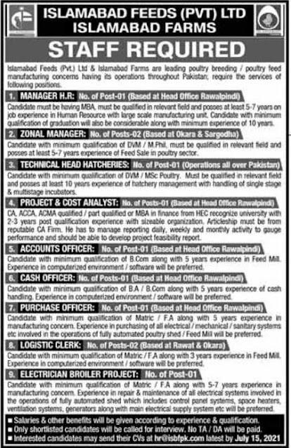 Islamabad Feeds Pvt Ltd  jobs advertisement2021