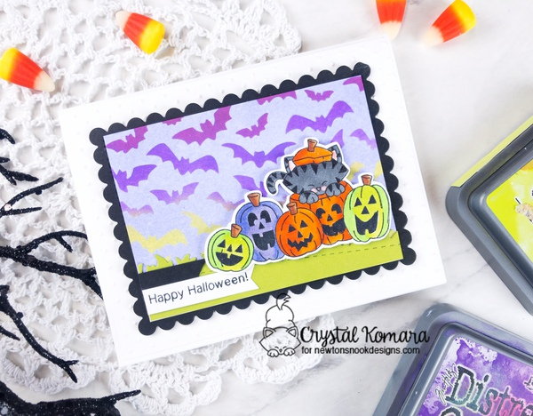 Happy Halloween by Crystal features Newton's Boo-tiful Night, Flying Bats, Land Borders, and Framework by Newton's Nook Designs; #newtonsnook