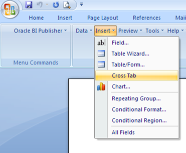 Creating a RTF Template for building Pivot Table in BI Publisher