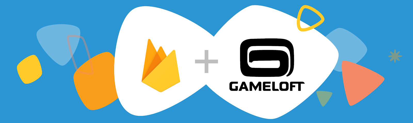 Firebase banner. Illustration of a Firebase and Gameloft logos