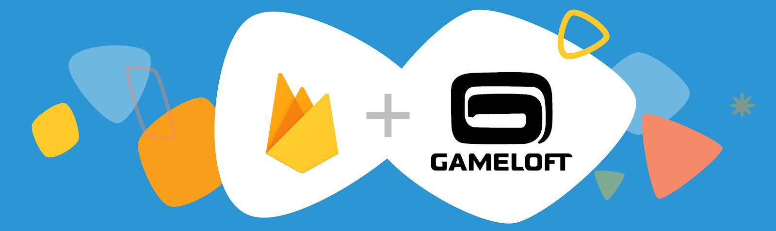 Banner do Firebase. Ilustração dos logotipos do Firebase e da Gameloft